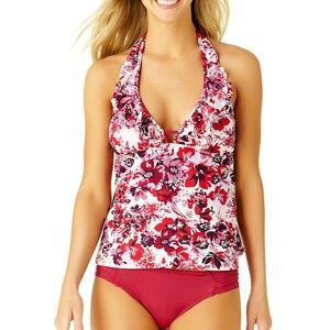 NWT A.n.a Floral Tankini Swim Top Multi Floral Red